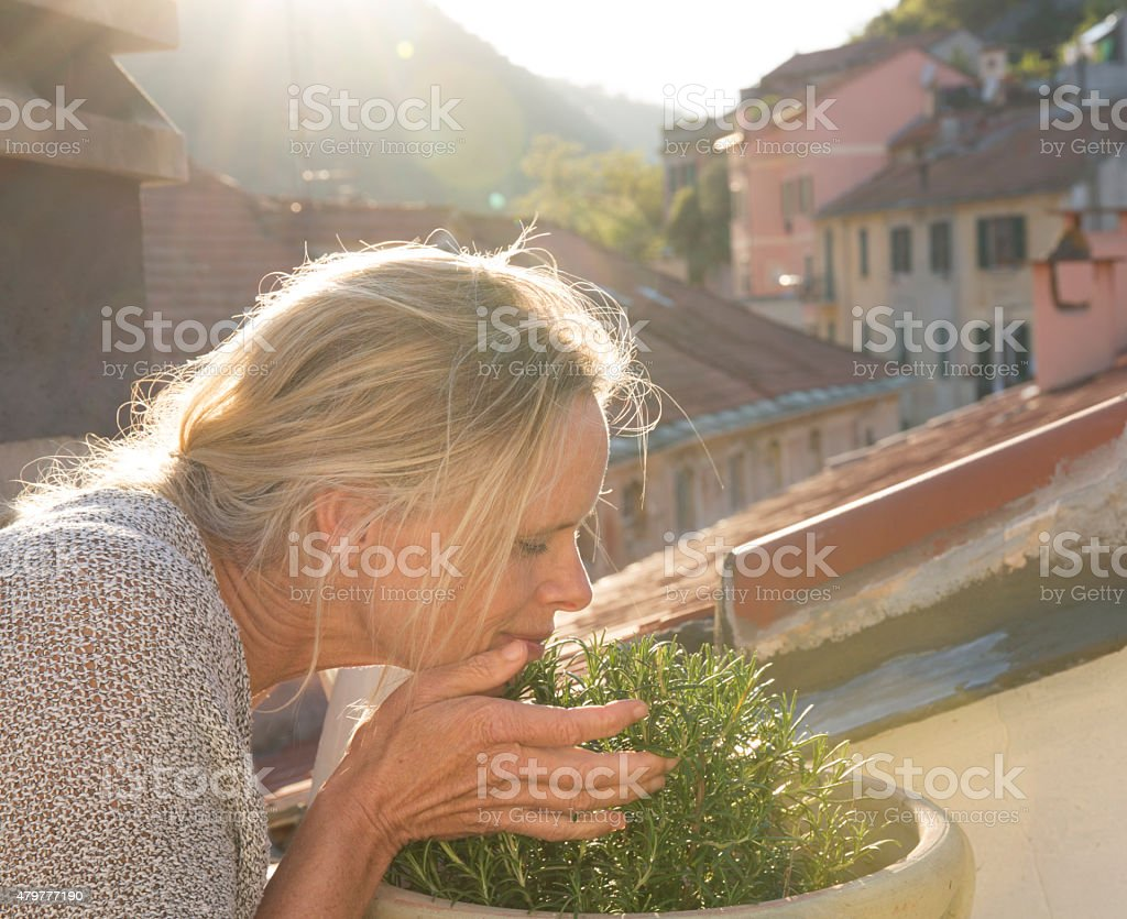 Woman smells plant on a rooftop in Liguria, Italy. stock photo