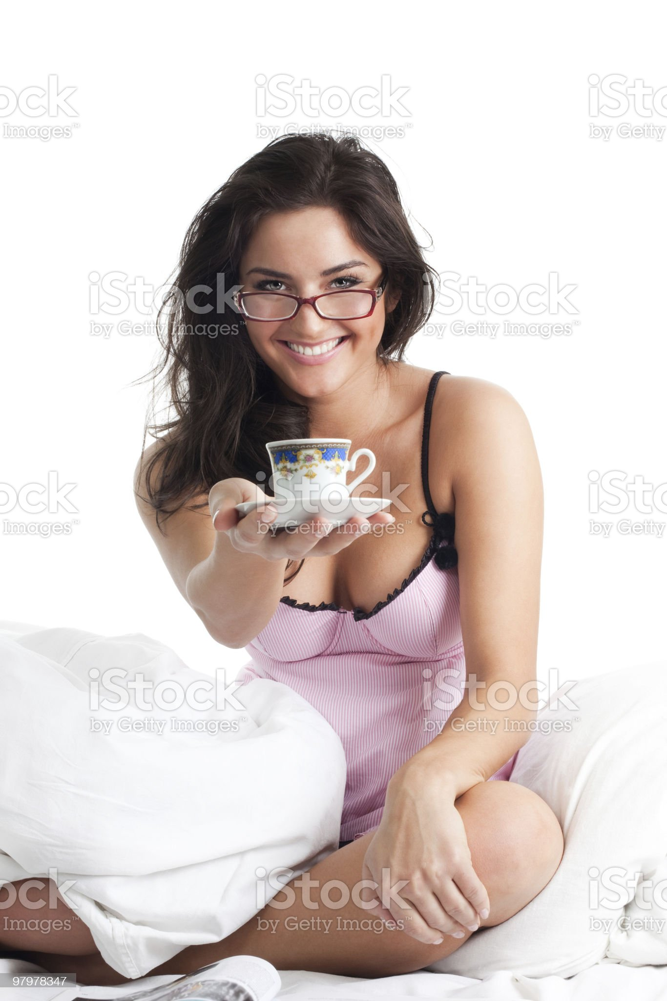 Woman smile and give cup of coffee royalty-free stock photo