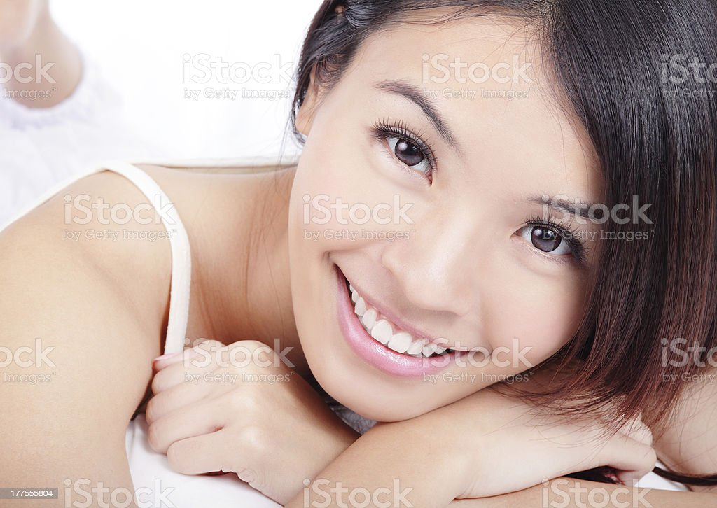 woman smiling face with health teeth stock photo