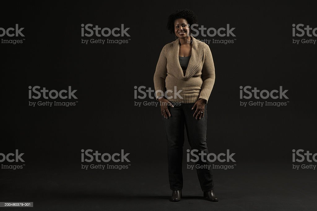Woman smiling, portrait stock photo