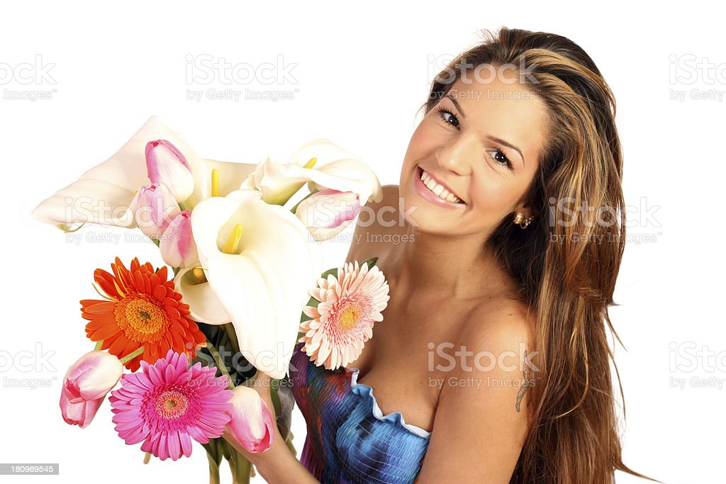 Woman smiling with a bouquet, isolated on white royalty-free stock photo