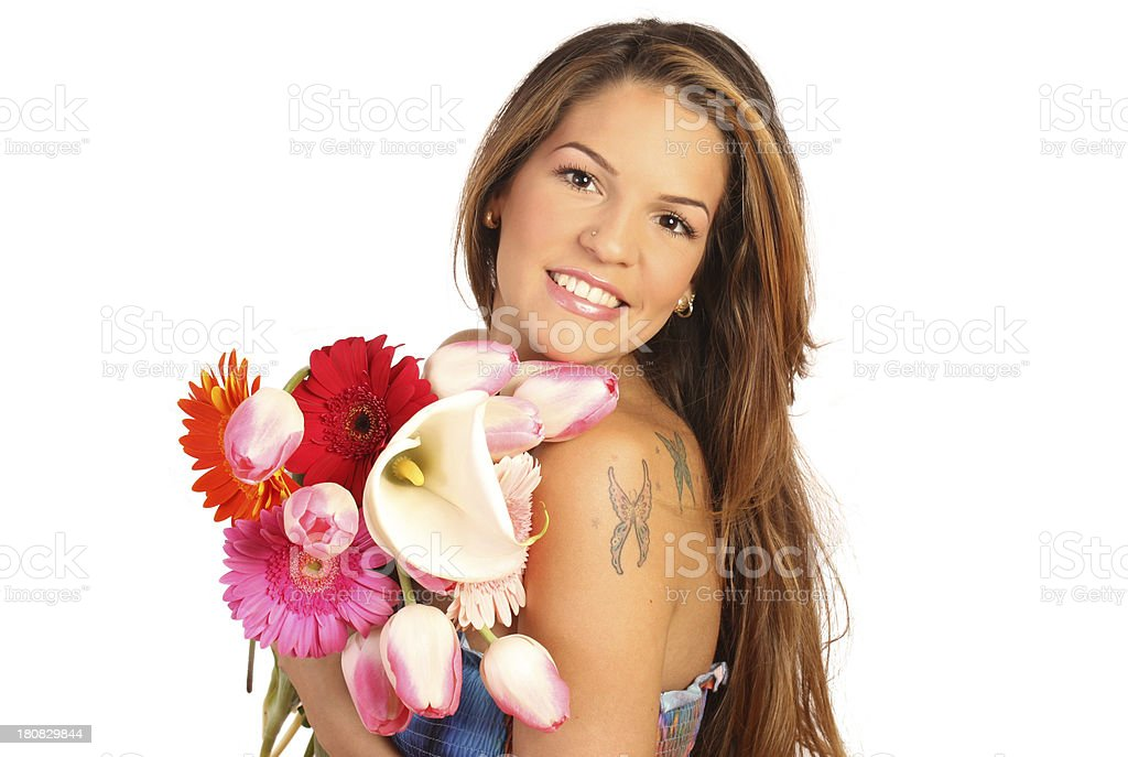 Woman smiling with a bouquet royalty-free stock photo