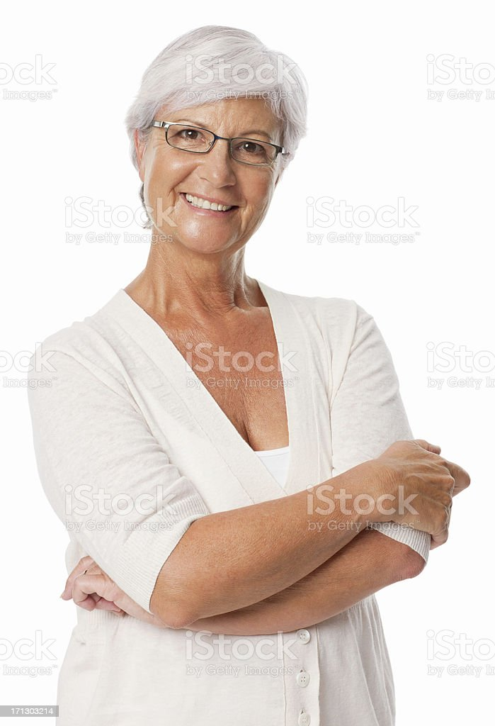 Woman Smiling With Arms Crossed - Isolated stock photo