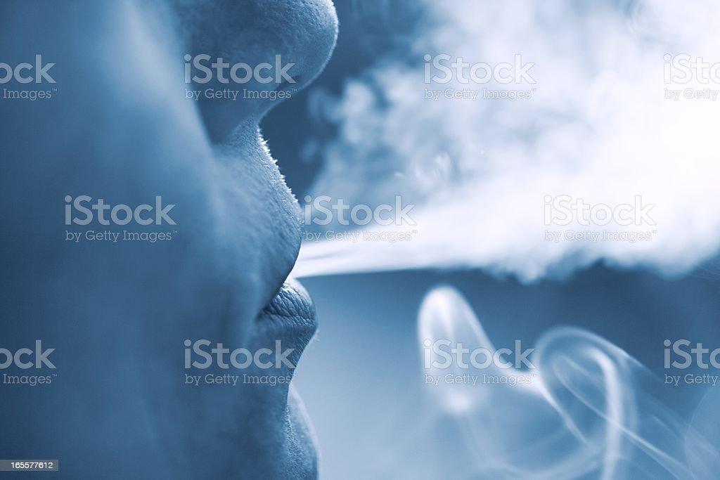 Woman Smoking cigarette stock photo
