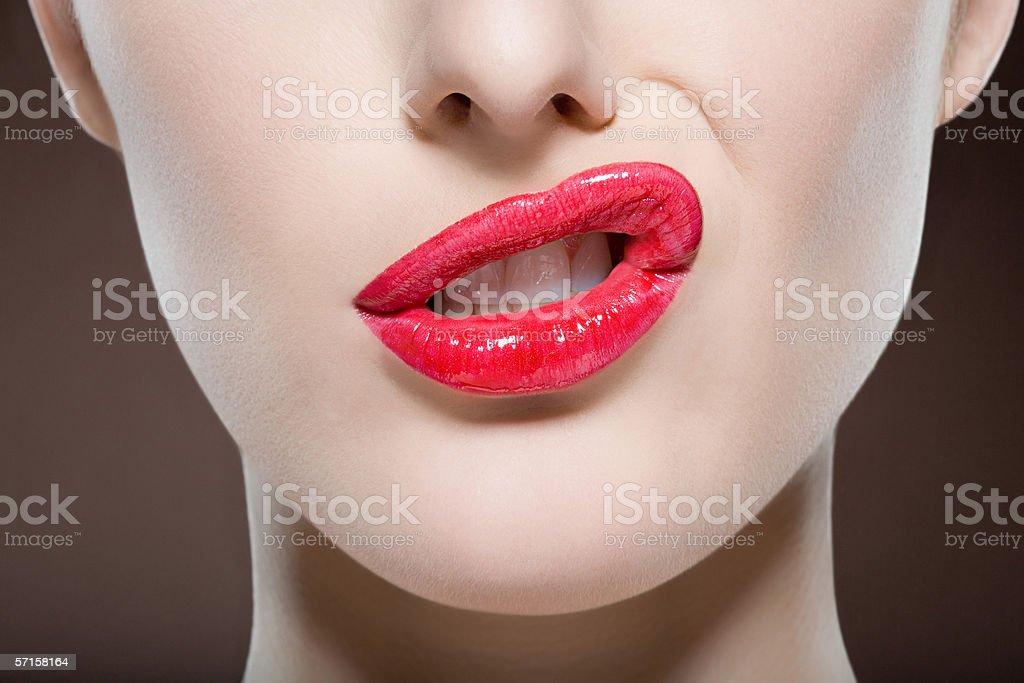 Woman sneering stock photo