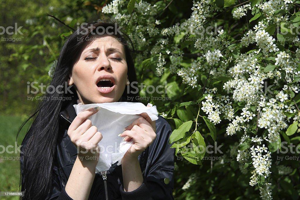 woman sneezing among flowers stock photo