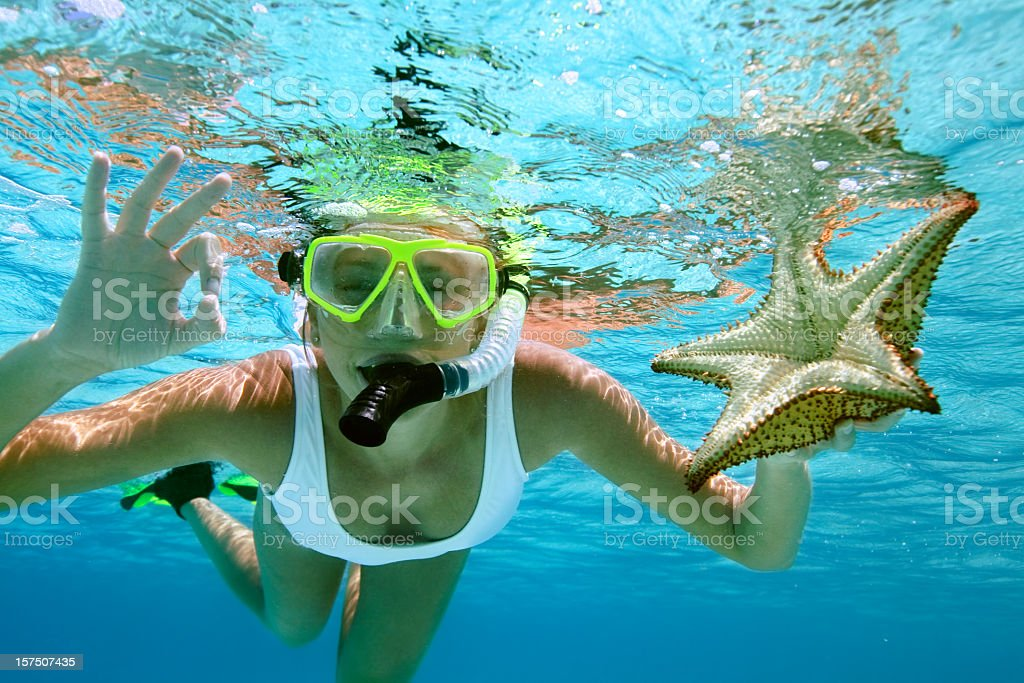 woman snorkeling with a starfish stock photo