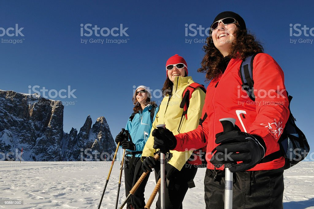 woman snowshoe group stock photo