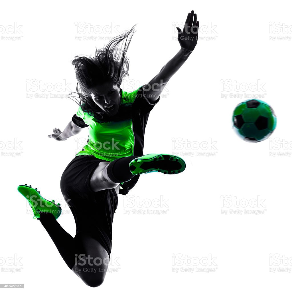 woman soccer player isolated silhouette stock photo