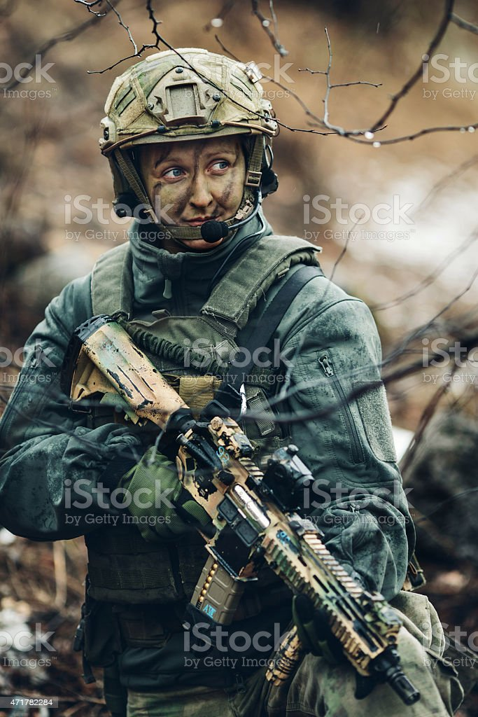 woman soldier member of ranger squad stock photo