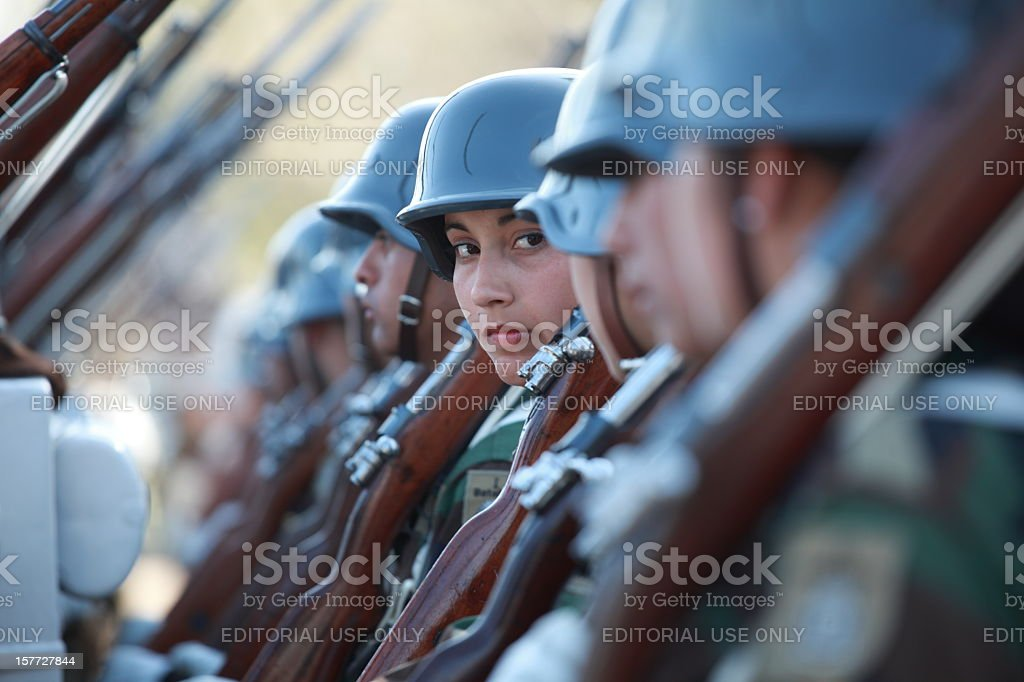 Woman soldier royalty-free stock photo