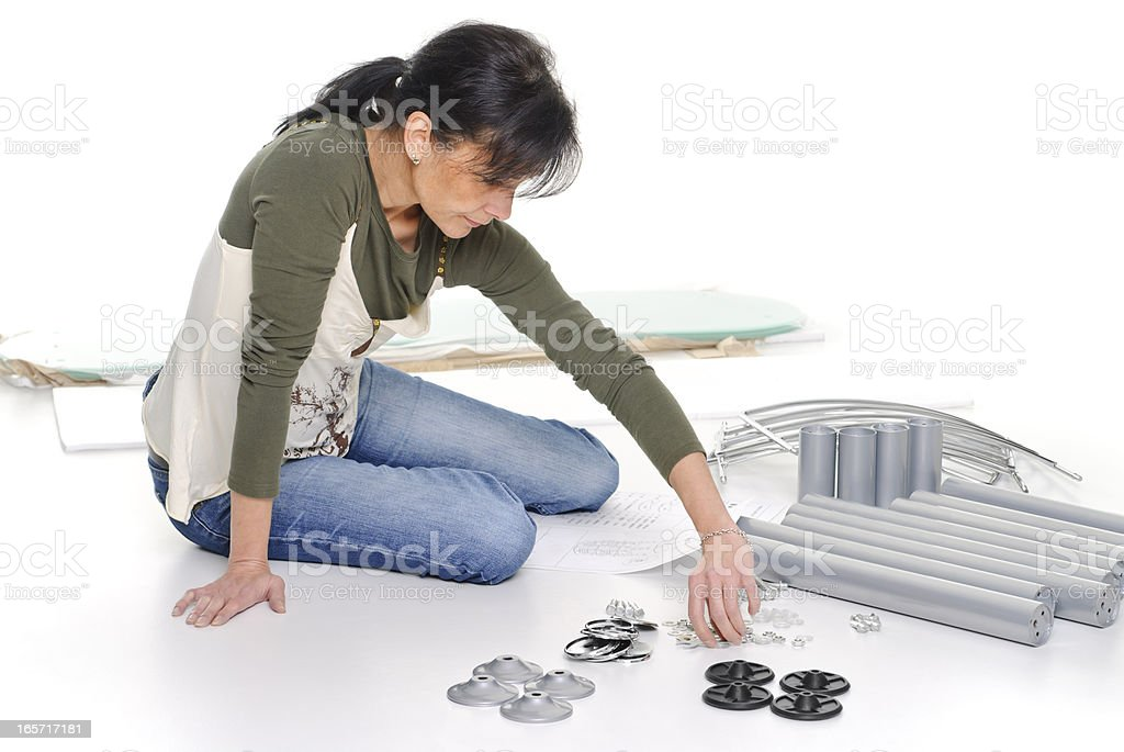 Woman sorted components royalty-free stock photo