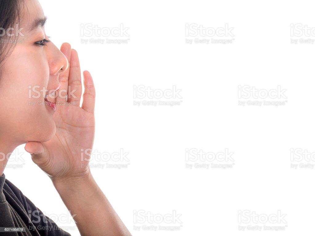 Woman speak on isolated background 1 stock photo