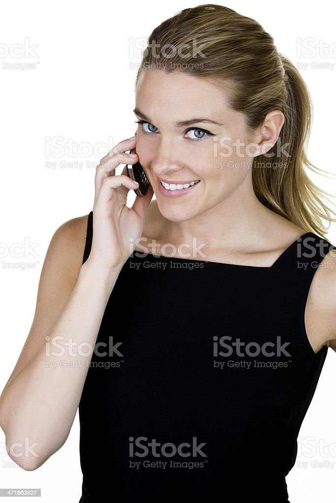 Woman speaking on cellphone royalty-free stock photo