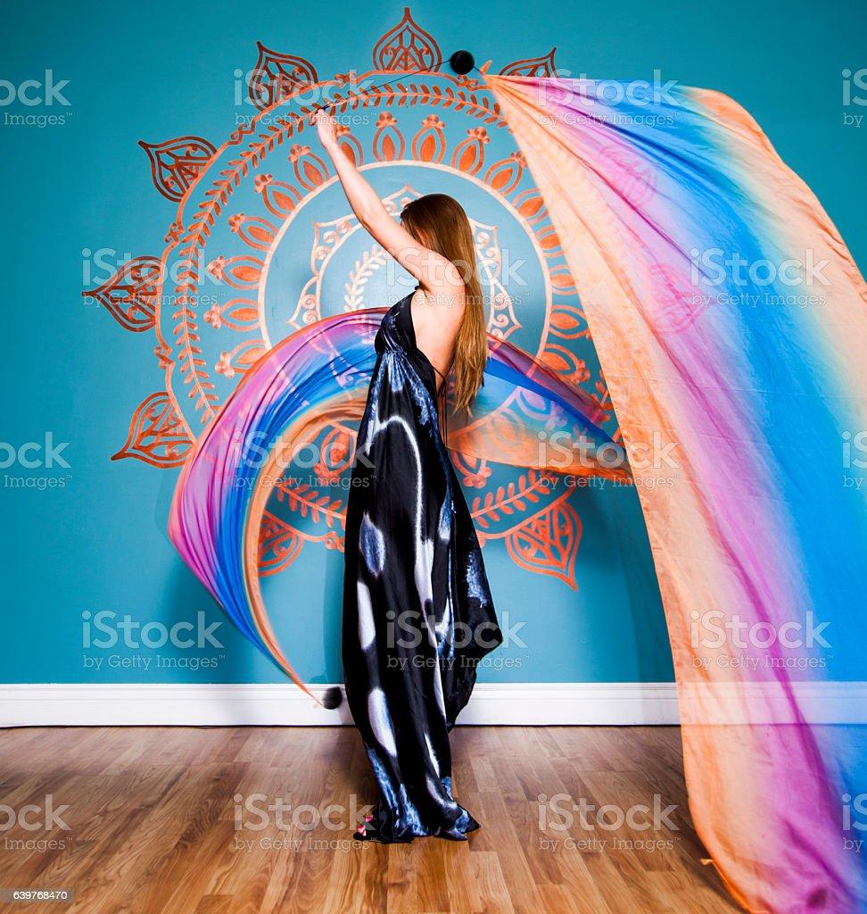 Woman Spinning Voi stock photo