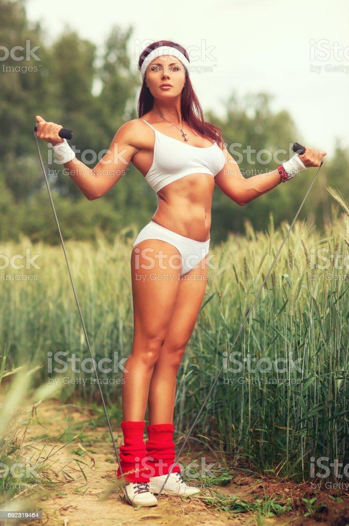 Woman sports training stock photo