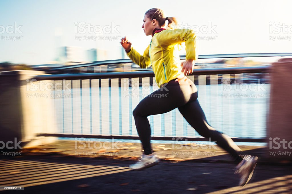 Woman Sprinting Interval Training stock photo