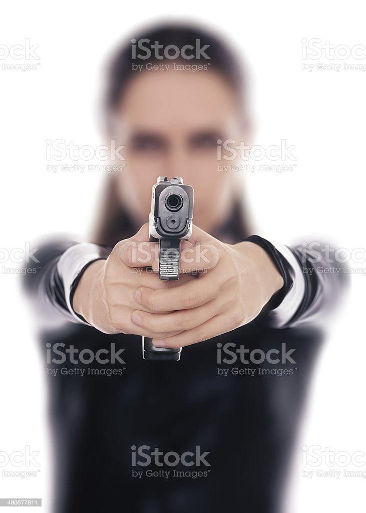 Woman Spy Aiming Gun stock photo
