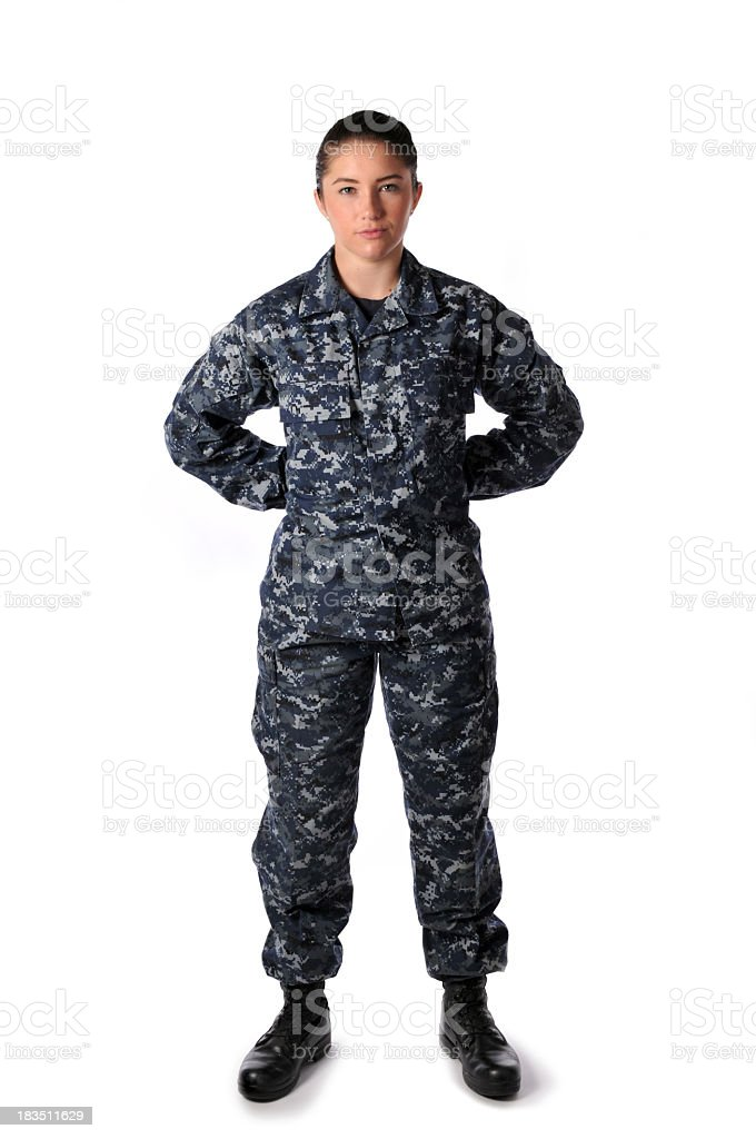 Woman Standing At Ease Wearing Navy Blue Digital Camouflage royalty-free stock photo