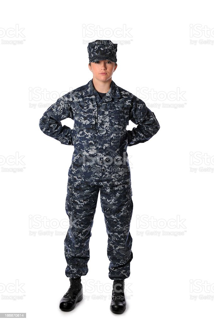 Woman Standing At Ease Wearing Navy Blue Digital Camouflage stock photo