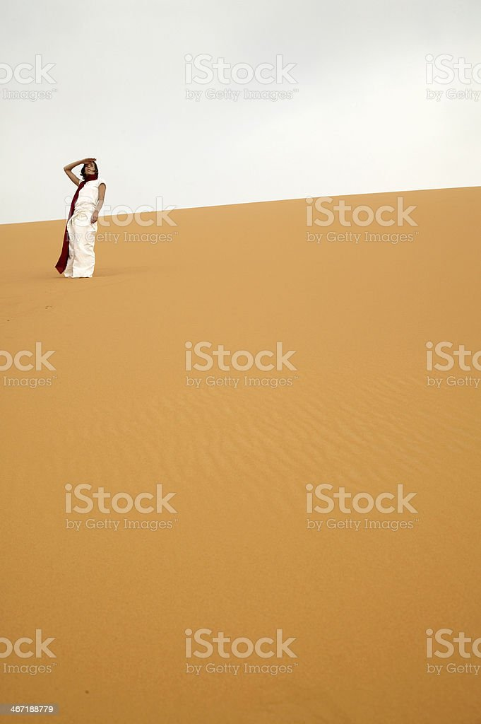 Woman Standing in Desert royalty-free stock photo