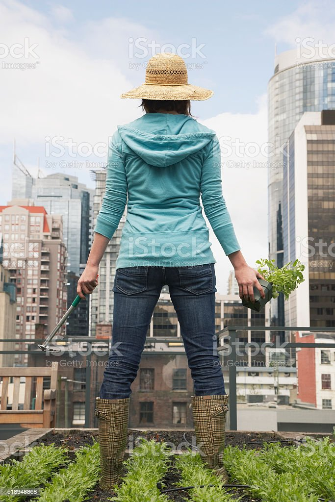 Woman standing on roof garden stock photo