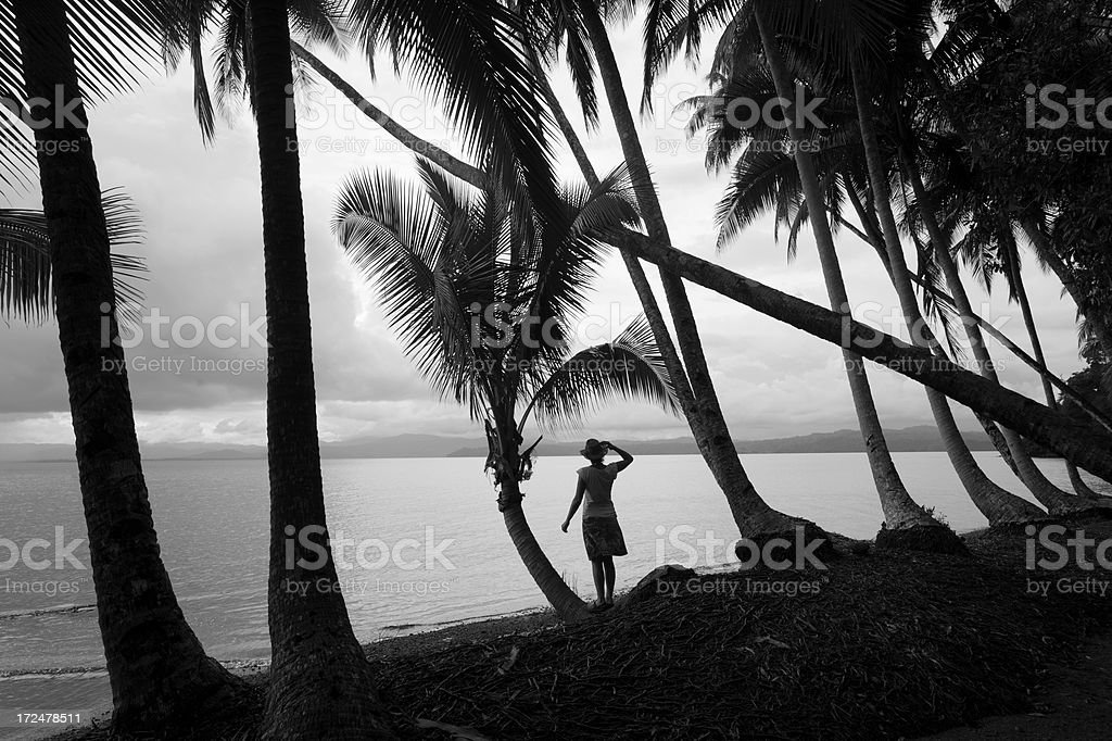 Woman standing on the beach with palm trees , Costa Rica stock photo
