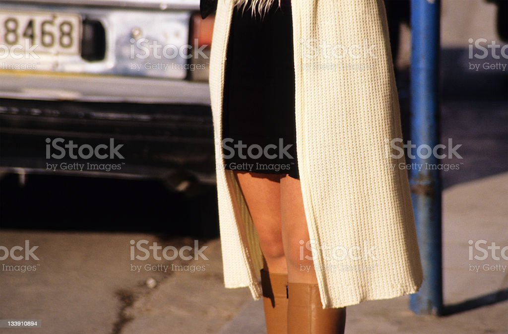 Woman standing on the street, low section, Greece, Athens royalty-free stock photo