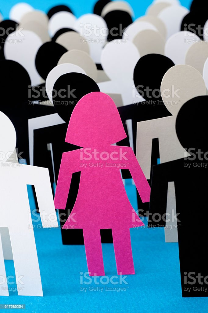 Woman standing out vector art illustration