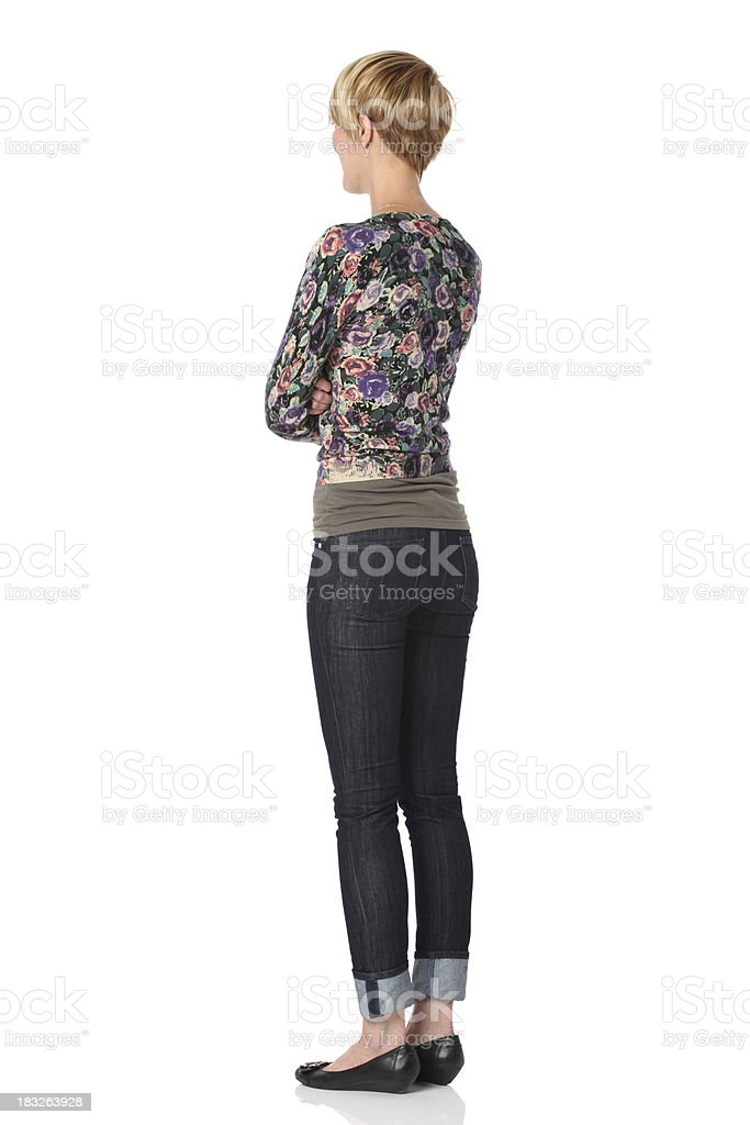 Woman standing with arms crossed royalty-free stock photo