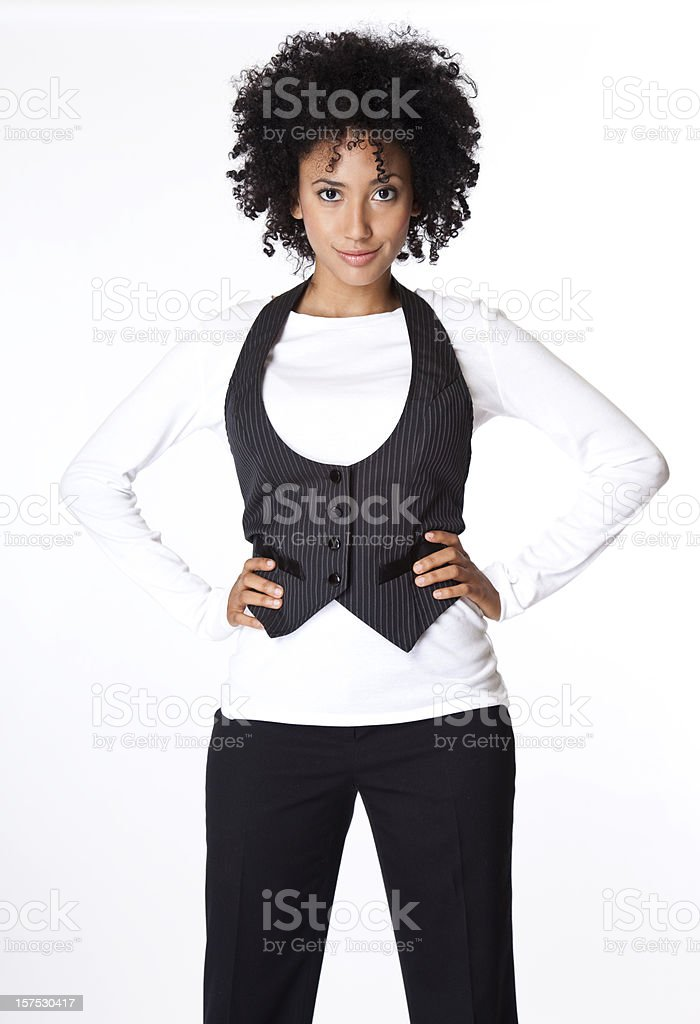 woman standing with attitude, looking at camera royalty-free stock photo