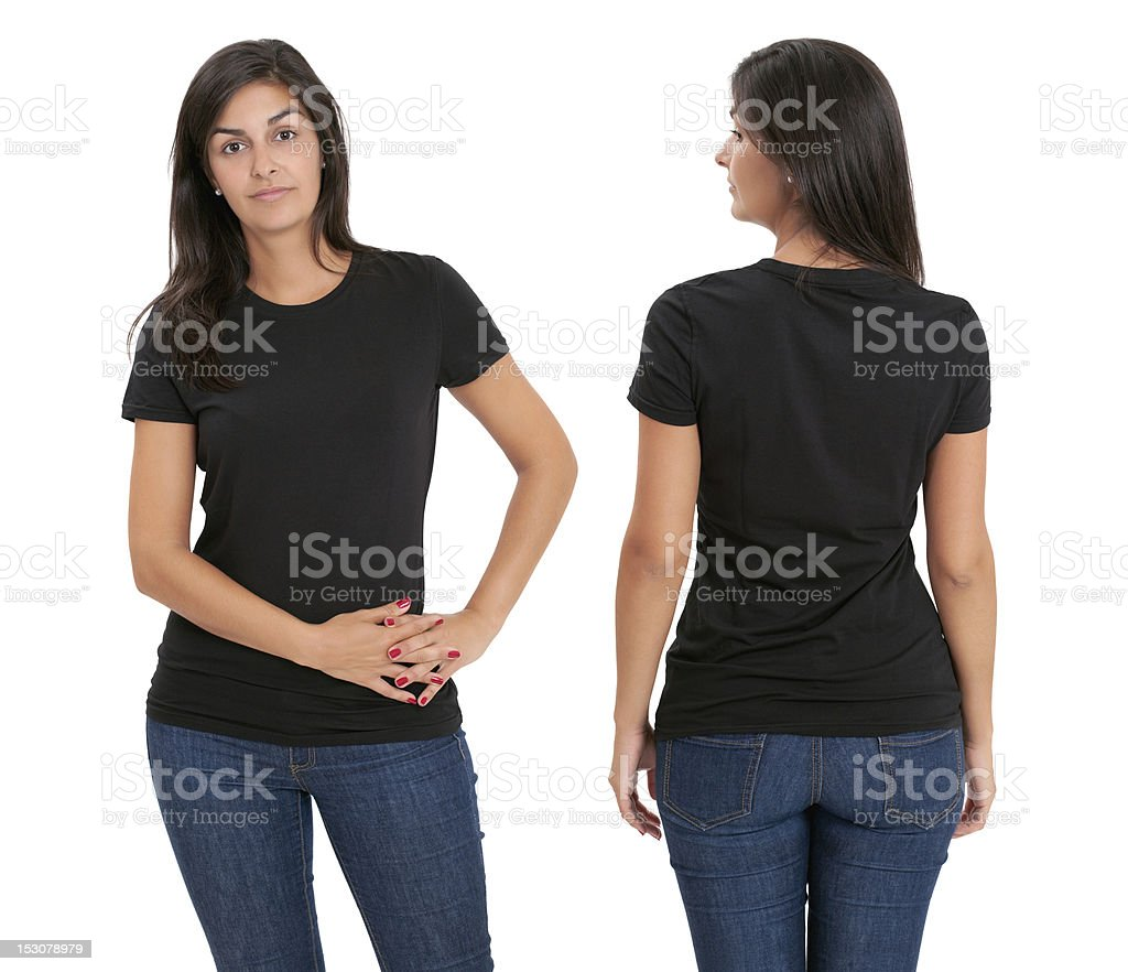 Woman standing with blank black shirt royalty-free stock photo