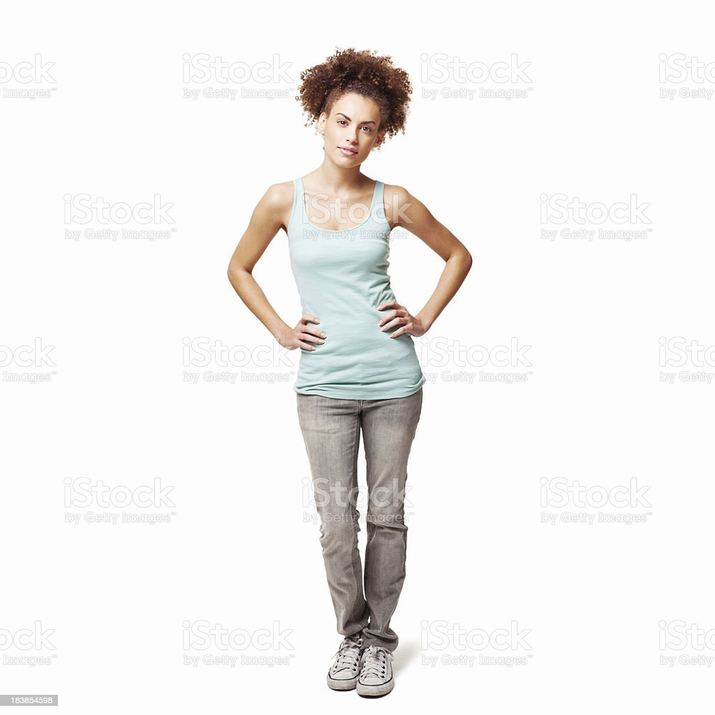 Woman Standing with Hands on Her Hips - Isolated royalty-free stock photo