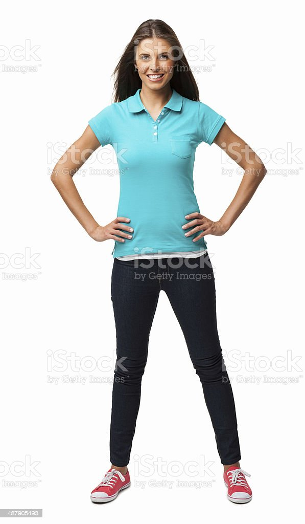 Woman Standing With Hands On Hips - Isolated stock photo