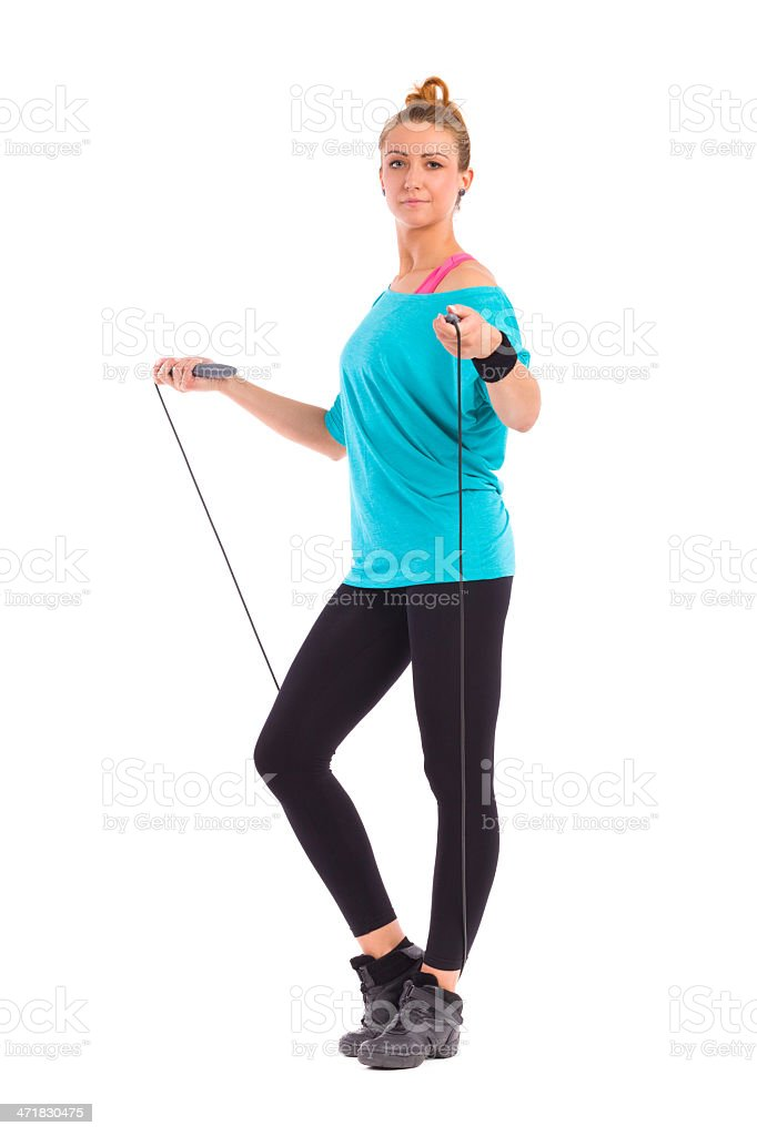 Woman Standing with Skipping-rope royalty-free stock photo