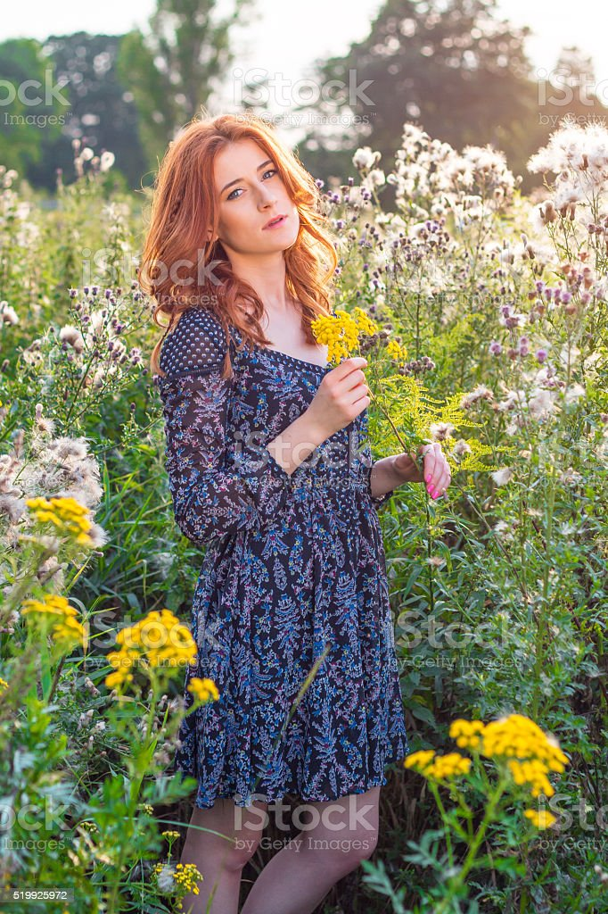 Woman stands on a meadow at sunset stock photo
