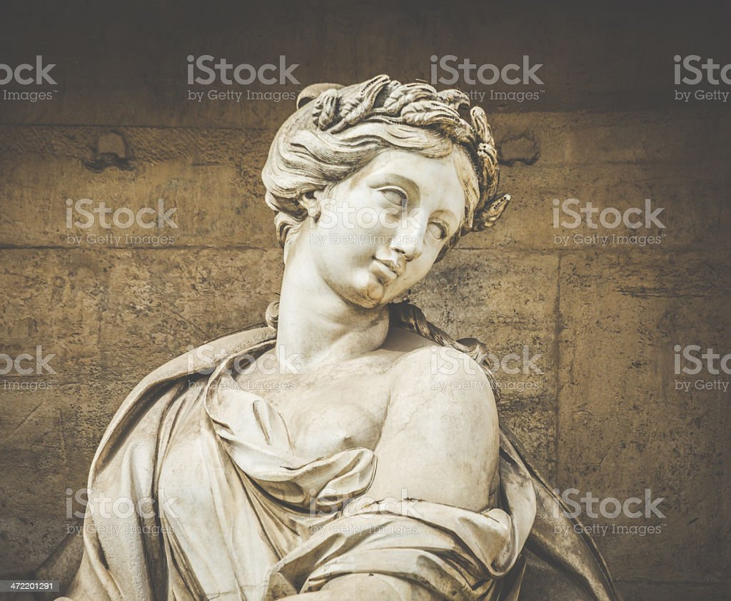 Woman Statue at Trevi Fountain in Rome royalty-free stock photo