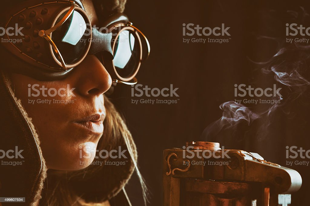 Woman Steampunk Gunslinger stock photo
