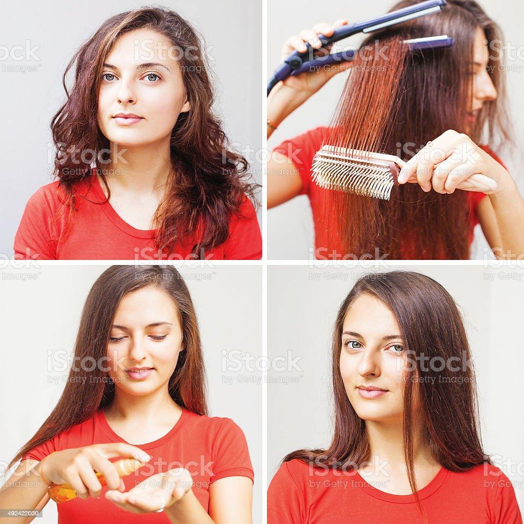 woman straightening her hair stock photo