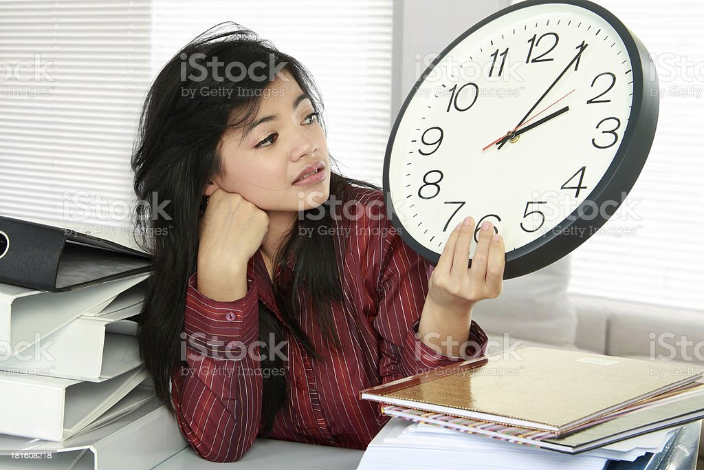 woman stress at work stock photo