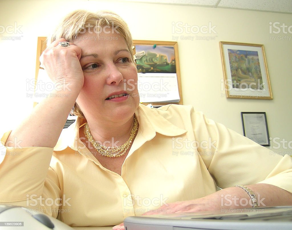 Woman Stressed at work royalty-free stock photo