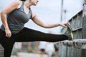 Woman Stretching Before Run