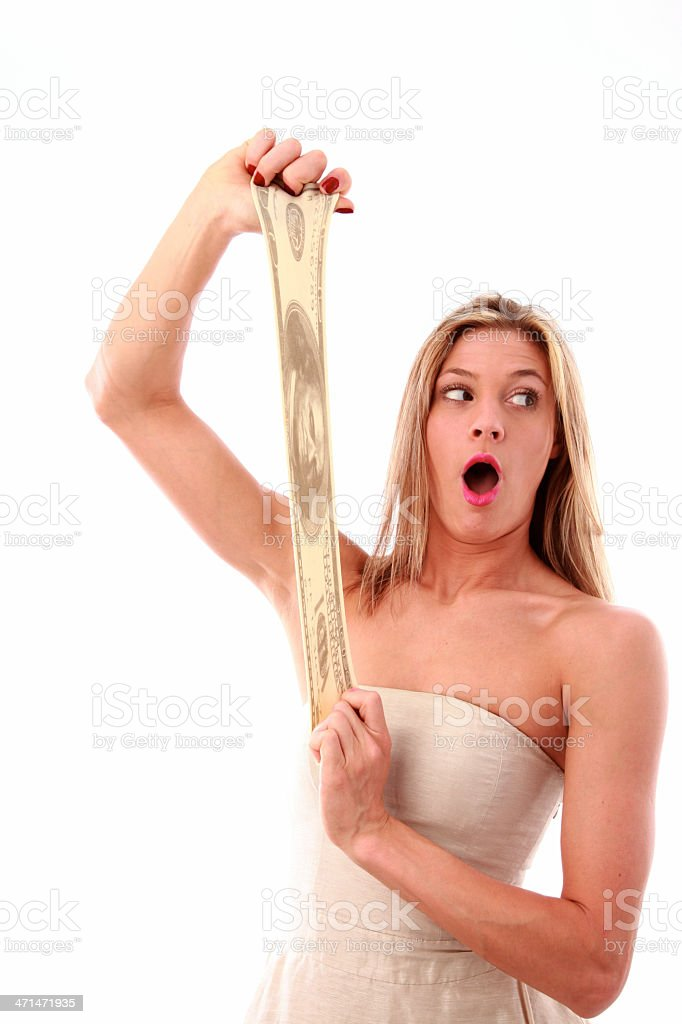 woman stretching money stock photo