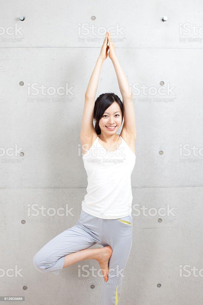 Woman stretching stock photo