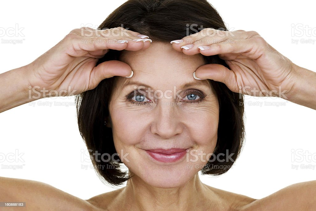 Woman stretching wrinkles royalty-free stock photo