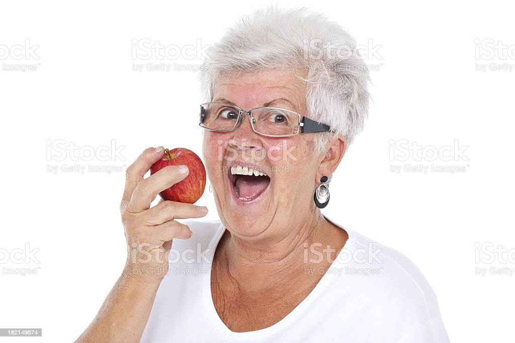 woman strong bite stock photo
