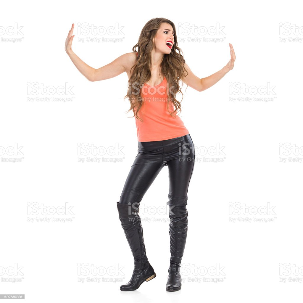 Woman Struggling With Imaginary Wall stock photo