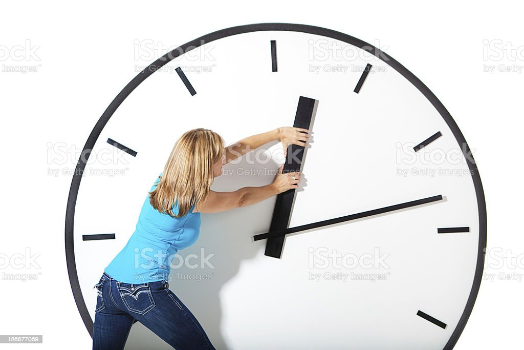 Woman Struggling with Time Management stock photo