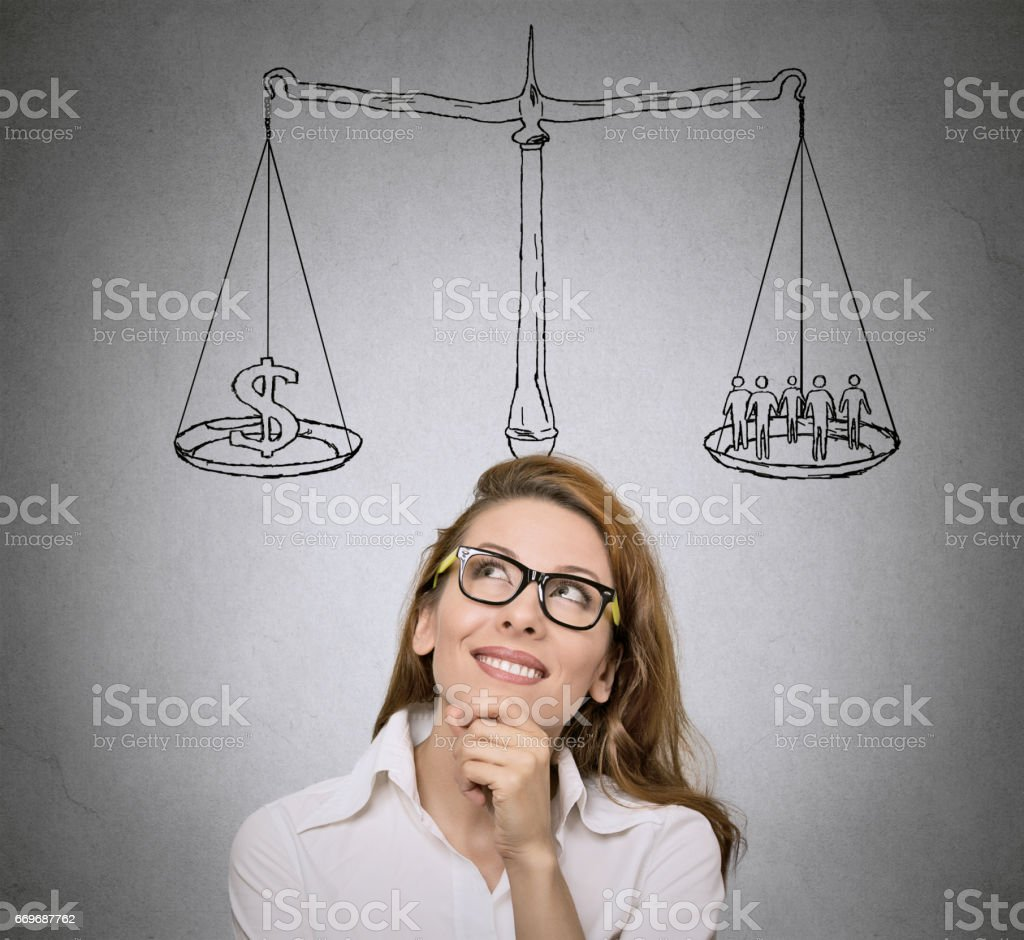 Woman, student  thinking, looking for solution grey wall background stock photo
