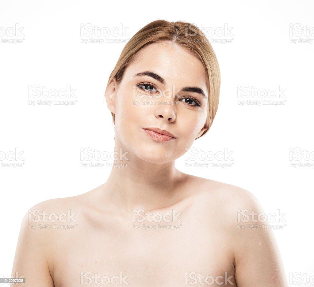 Woman studio portrait isolated on white. Studio shot. stock photo